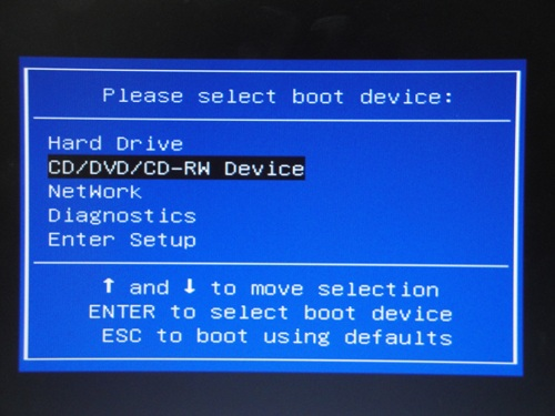 起動デバイス選択